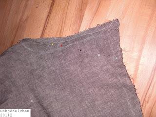 Foto der noch anstehenden Änderungen an der hinteren Hosenmitte